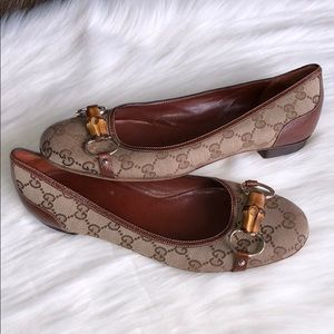 Auth Gucci Horsebit Bamboo Ballet Flats Shoes 39 9
